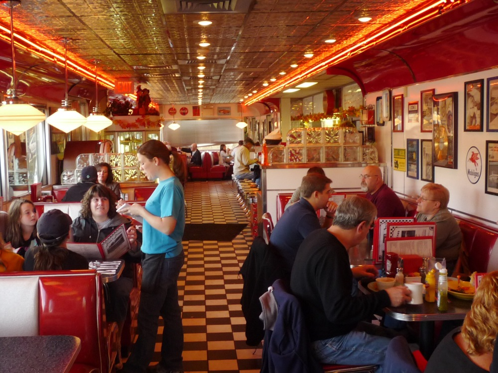 Dave's Diner classic dining car interior, Middleboro, mass.