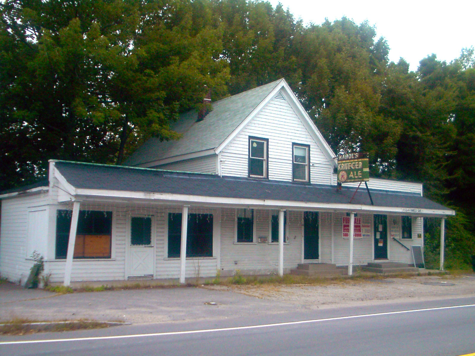 The former Karol's Cafe with the famous Krueger's Ale sign in Walpole, Mass.