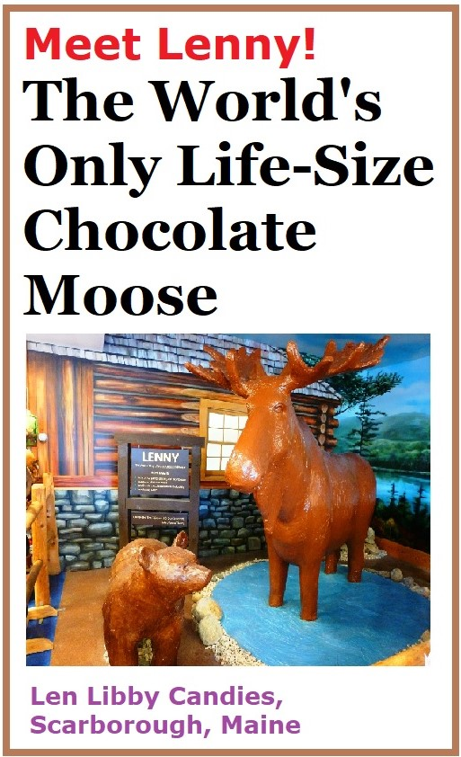 Meet Lenny, the world's only life-size chocolate moose at Len Libby Candies in Scarborough, Maine