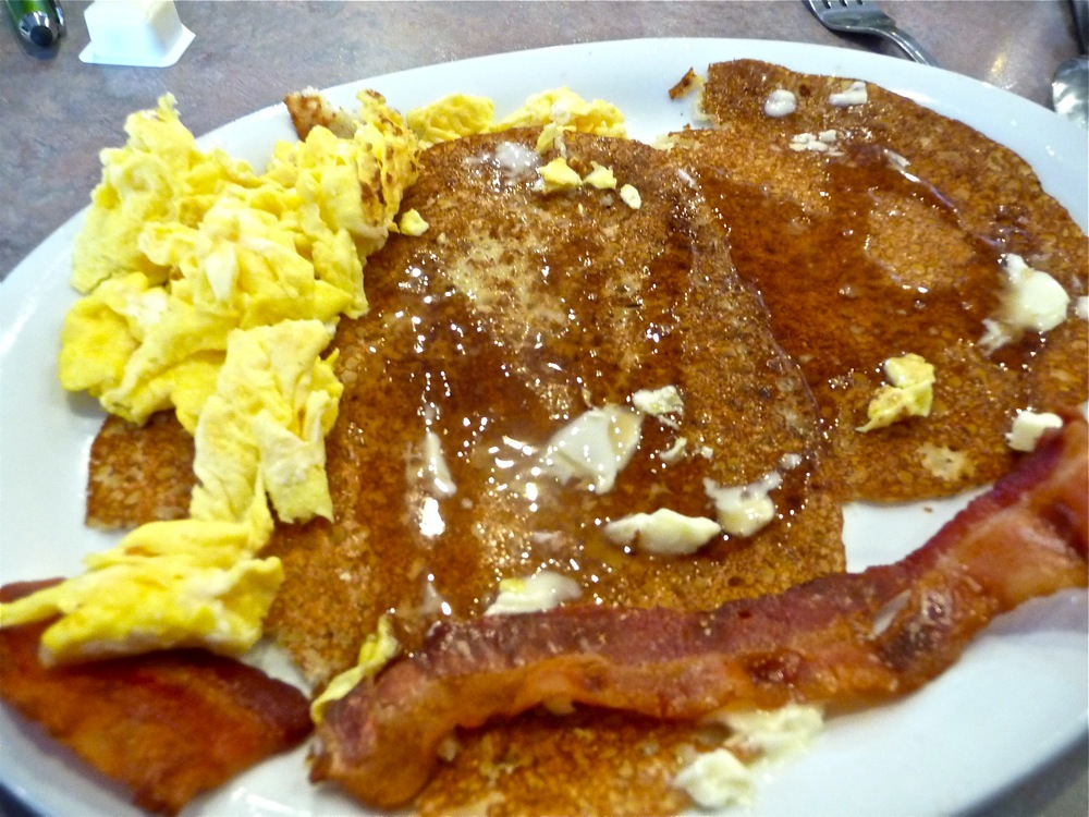 Johnnycakes with eggs and bacon from the Commons in Little Compton, Rhode Island