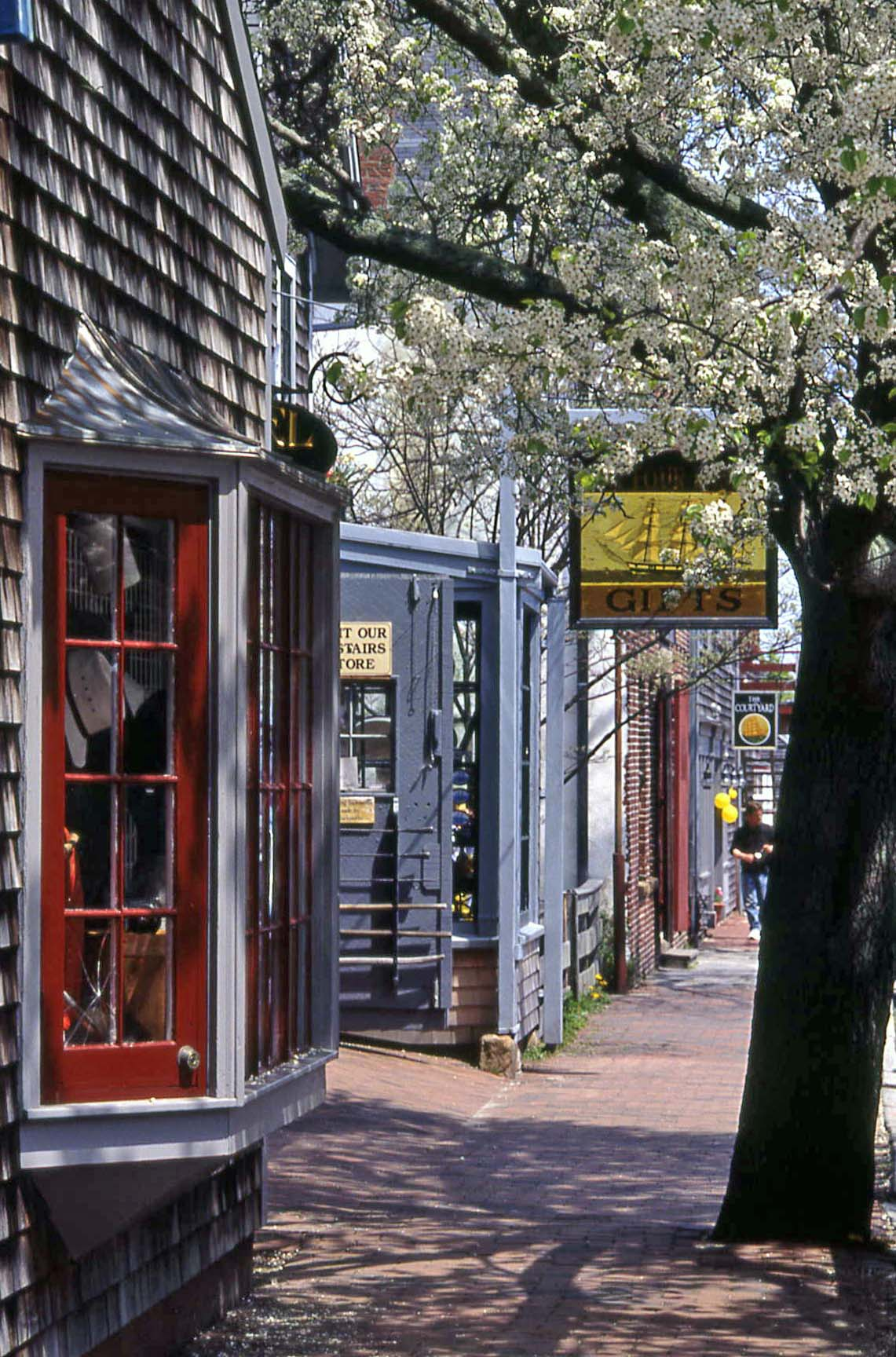 Quaint Nantucket - Lower Main Street. Photo credit: Michael Galvin/Nantucket Chamber of Commerce. Source: MassVacation.com