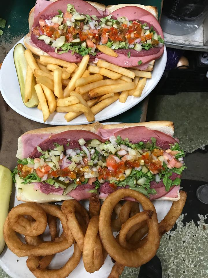 Italian subs with fries and onion rings from the Nashoba Pizza Club in Ayer, Massachusetts.