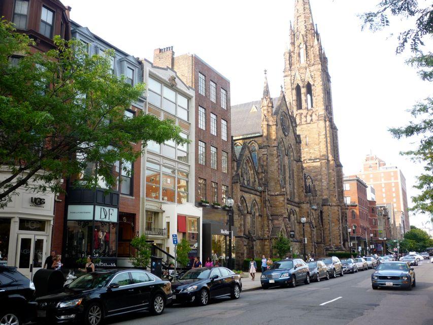 Photo of Newbury St. shops and and Emmanuel Church, Newbury St., Boston