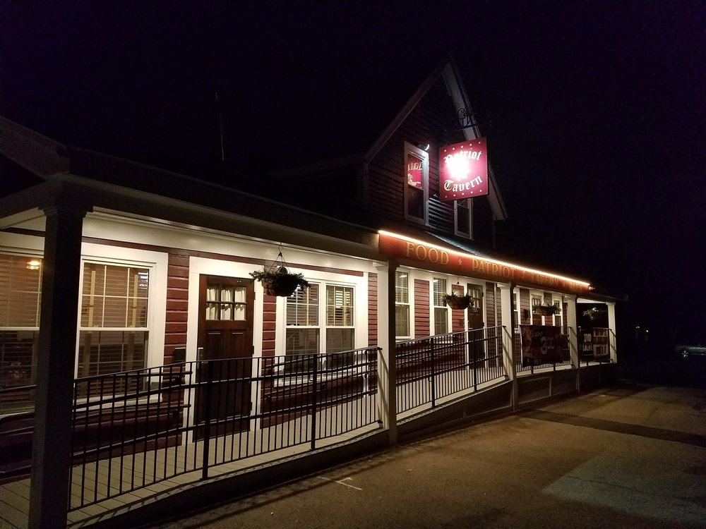 Patriot Tavern at night in Walpole, Mass.