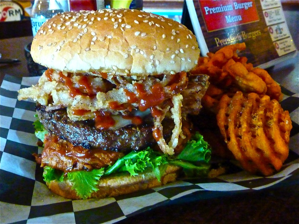 A mouthwatering burger from The Abbey in Providence, Rhode Island.