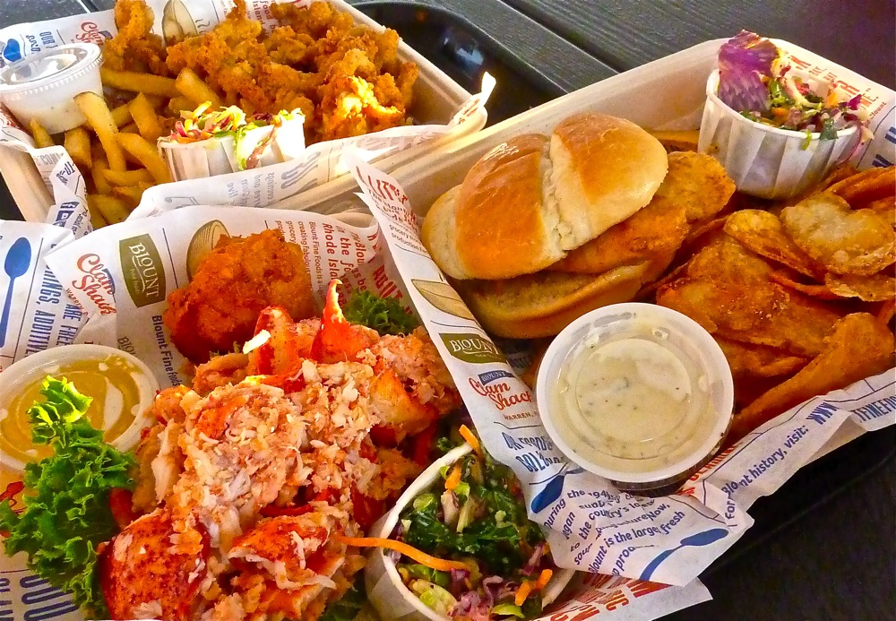 Lobster roll, fried clam plate and fish sandwich from Blount's Seafood Shack in Warren, Rhode Island