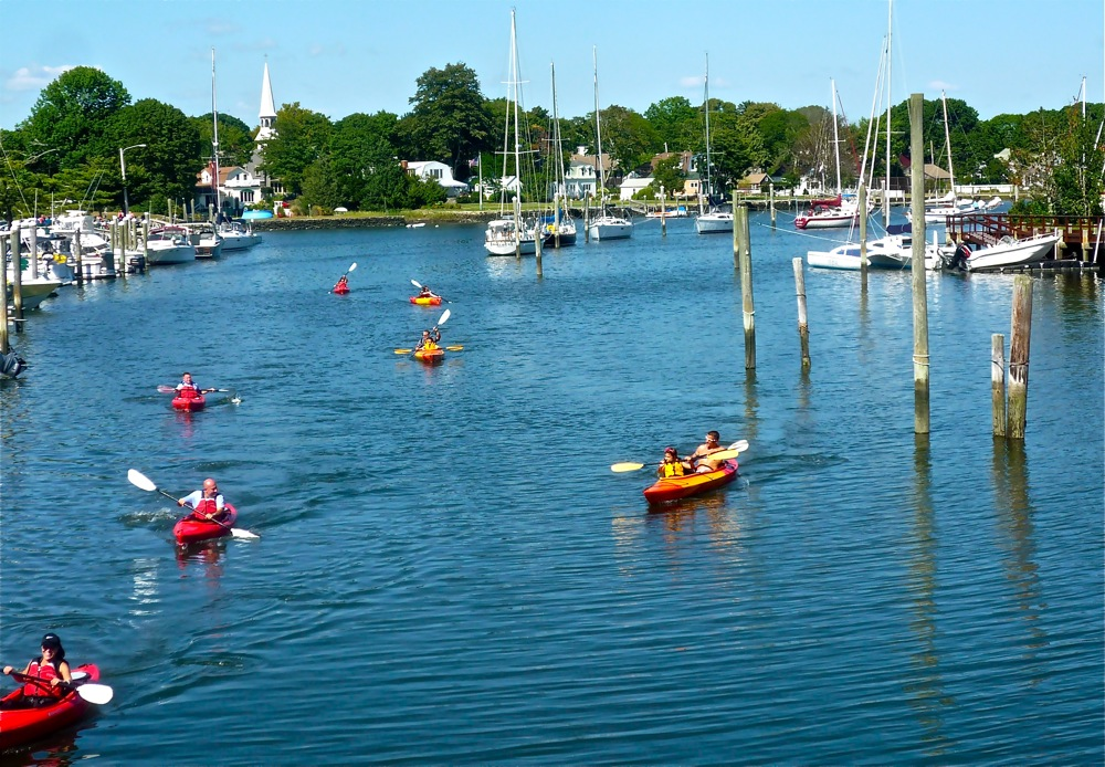 Kayakers at Wickford Village Harbor, Wickford Village RI
