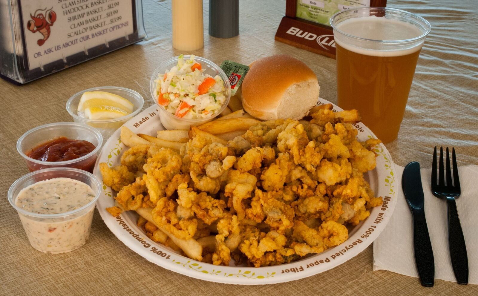 Fried clam plate with beer from the Beach Plum in Portsmouth, N.H.
