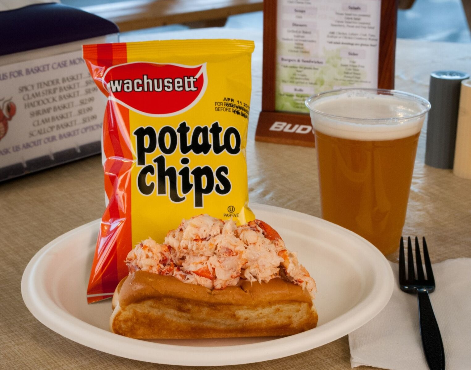 Lobster roll, chips and beer from the Beach Plum in North Hampton, N.H.