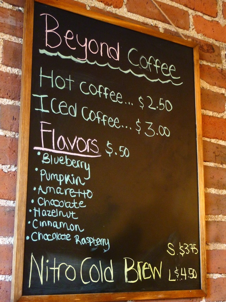 Coffee selections from Beyond Full restaurant in Hopedale, Mass.