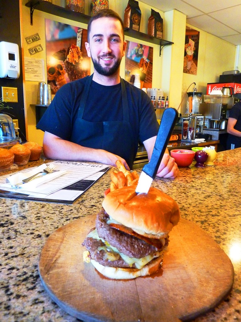 Chef Stephen Salvucci created this delicious one-pound burger at Beyond Full in Hopedale, MA..