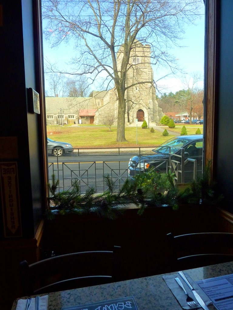 View of the Hopedale Unitarian Parish from Beyond Full restaurant in Hopedale, Mass.