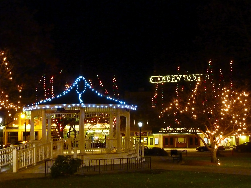 Downtown Christmas scene in Norwood, Massachusetts by the Town Green and Norwood Theater.