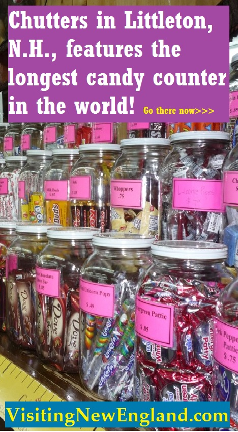 Chutters in Littleton NH features the longest candy counter in the world at nearly 112 ft. long.