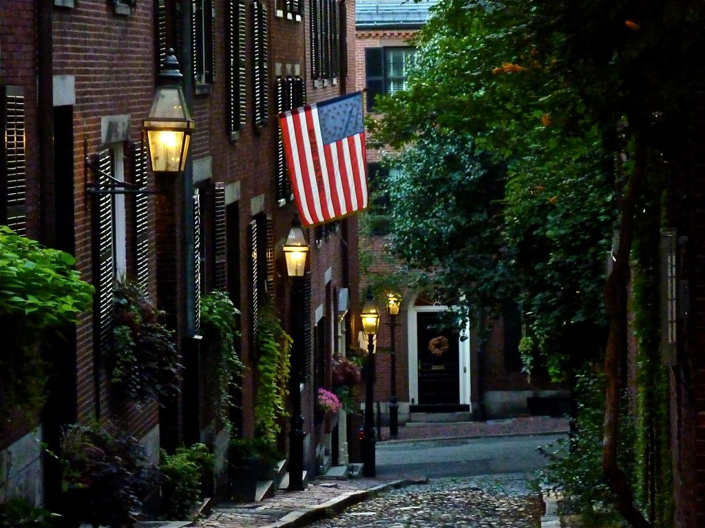 Acorn Street on Beacon Hill in Boston, Mass.