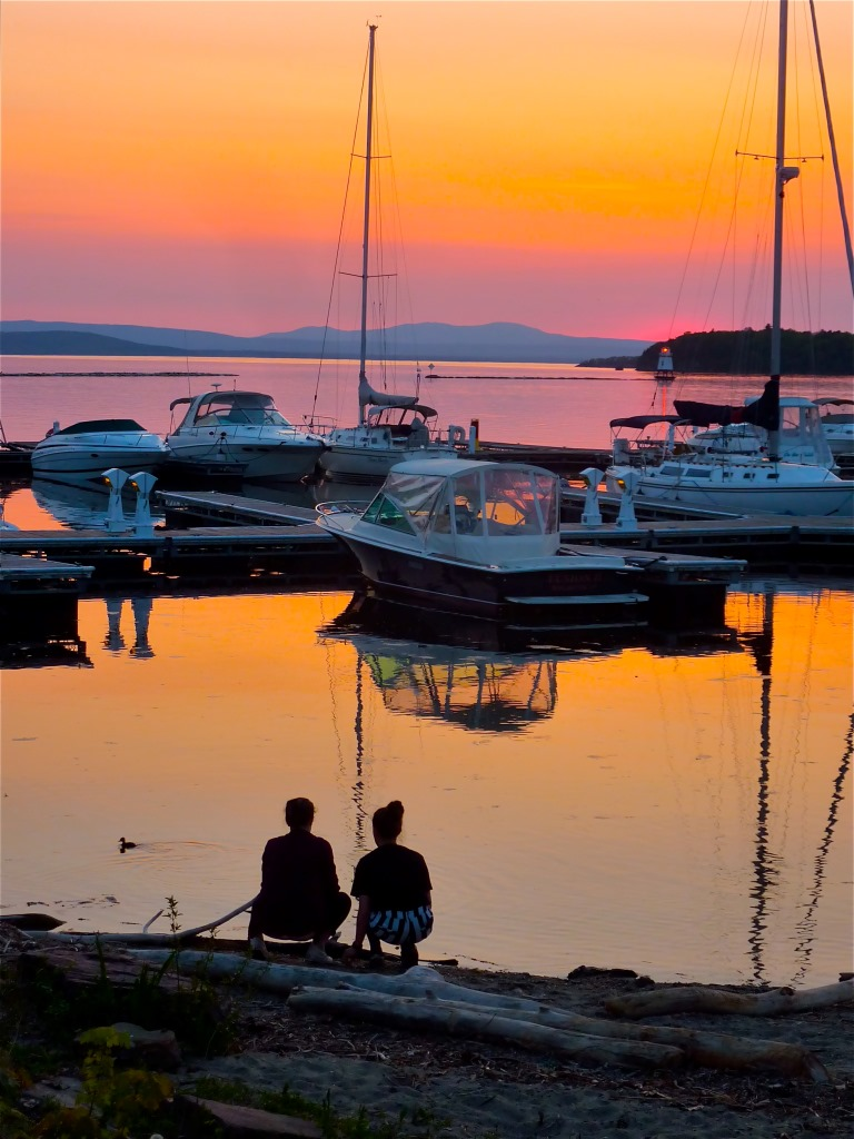 Sunset at Waterfront Park in Burlington, Vt.