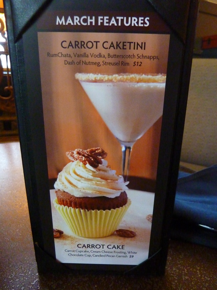 Carrot Caketini from the Copper Door in Bedford and Salem, NH -- rumchata, vanilla vodkam butterscotch schnapps, a dash of nutmeg and struesel rim.