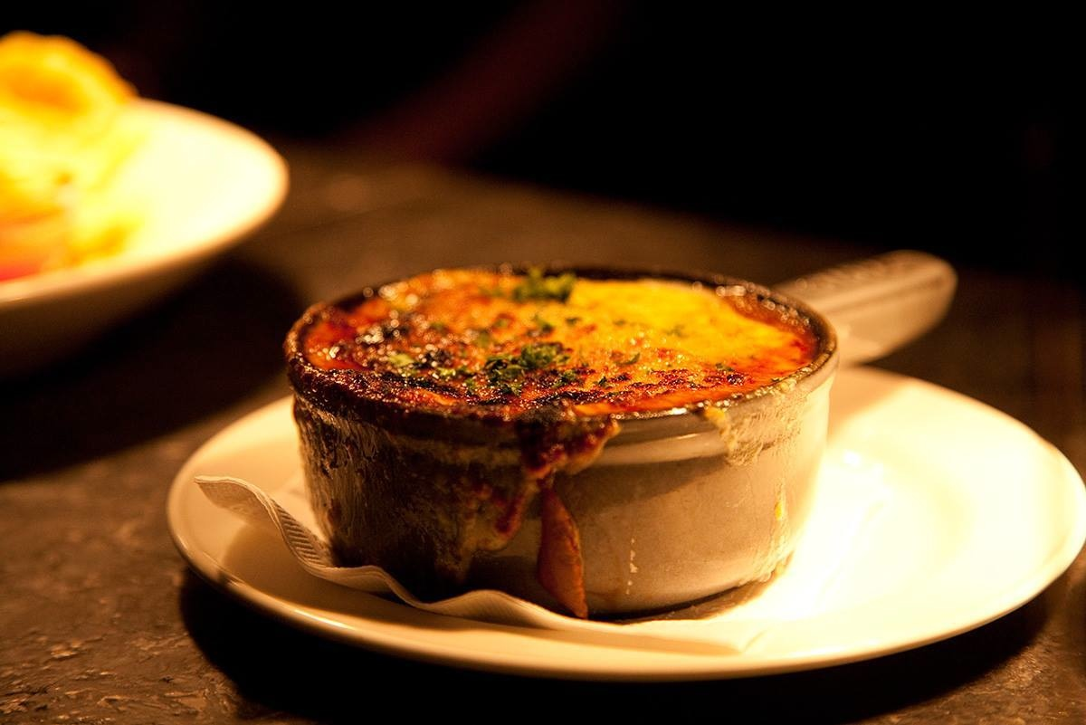 Yummy  homemade French Onion Soup from The Copper Door in Bedford and Salem, NH.