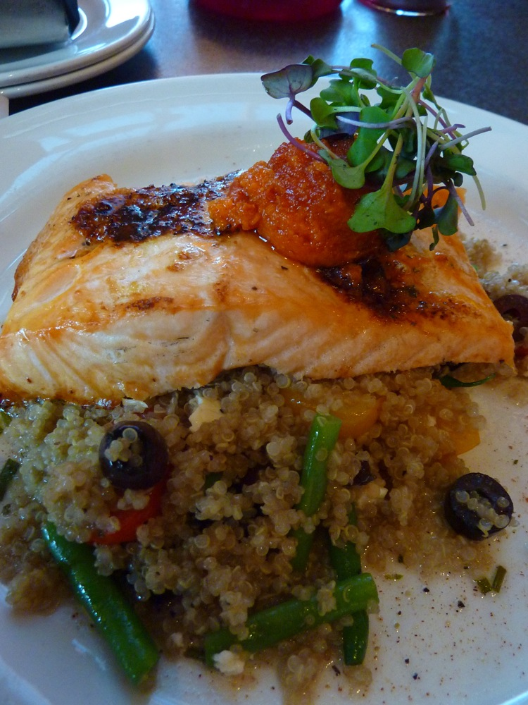 Cedar planked salmon with three grain pilaf, haricort verts and sun-dried pesto tomato from the Copper Door in Bedford, N.H.