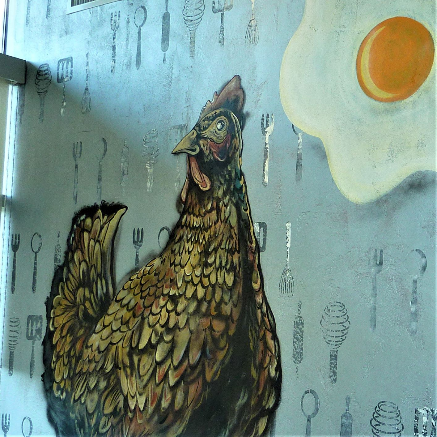 Chicken and egg art at CRACK'D Kitchen & Coffee in Andover, Mass.