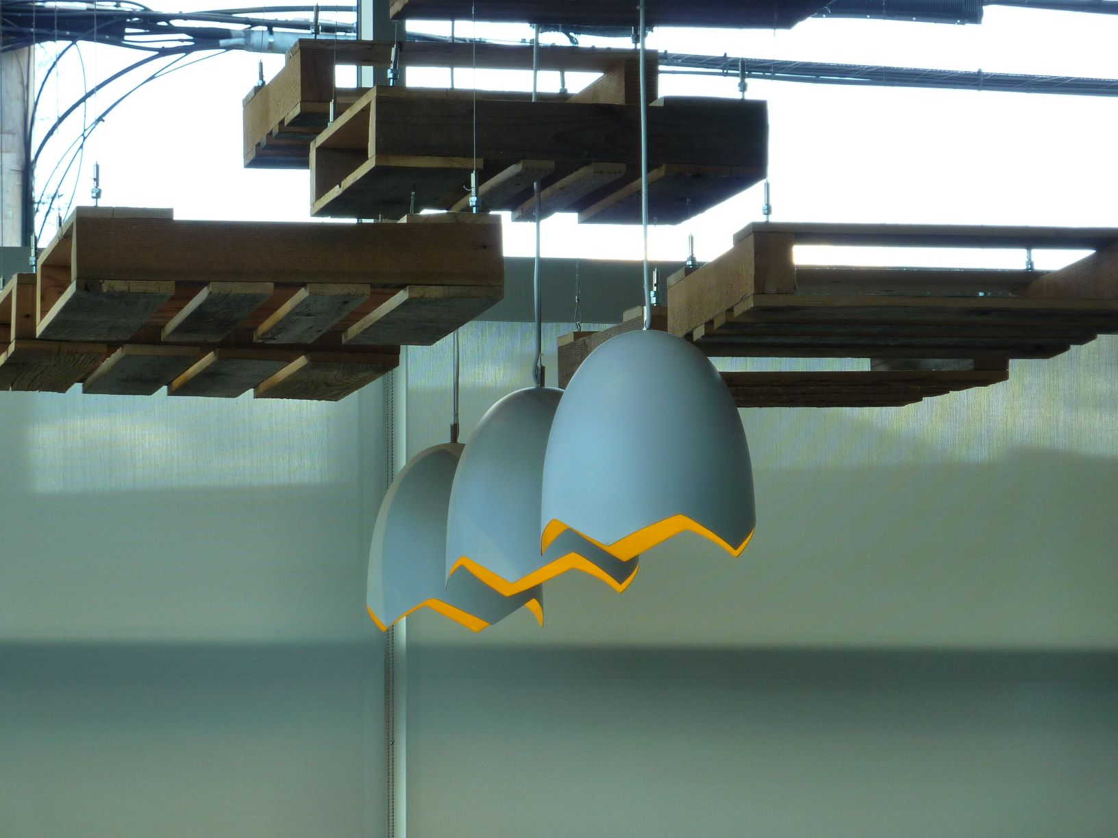 Egg lights at CRACK'D Kitchen & Coffee in Andover, Mass.