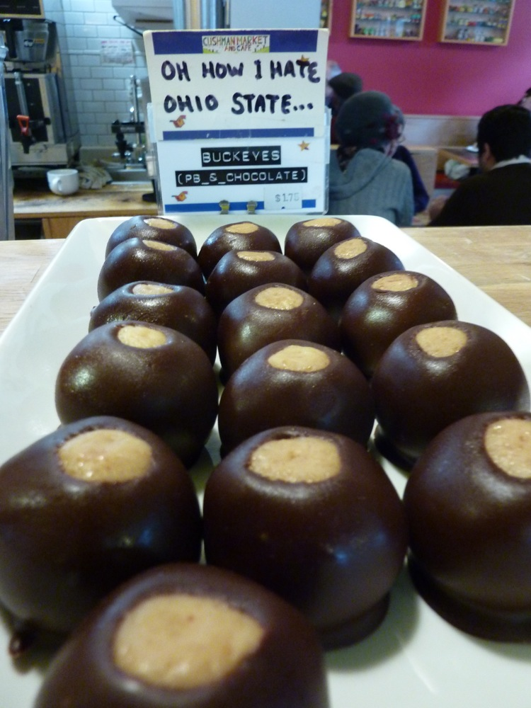 Peanut butter and chocolate balls from Cushman Market and Cafe in North Amherst, Massachusetts.