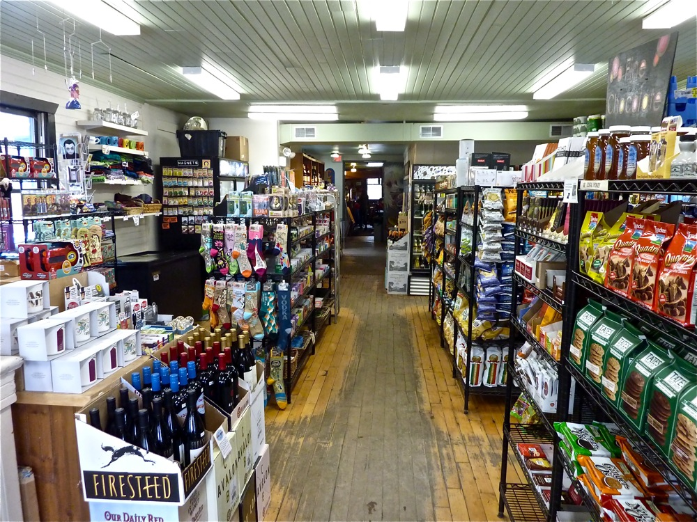 The old-time market section of Cushman Market and Cafe in Amhest, Massachusetts.