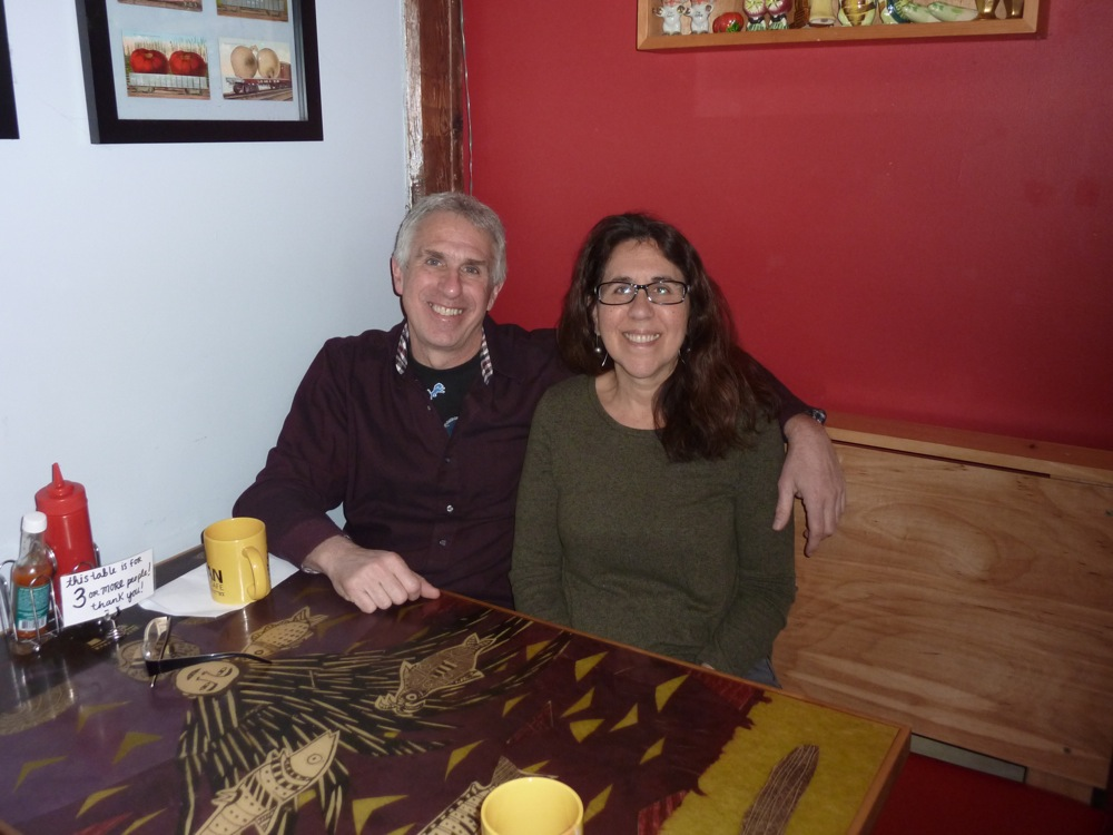 Pete Sylvan and Becca Schwartz, owners of Cushman Market and Cafe in Amhest, Massachusetts