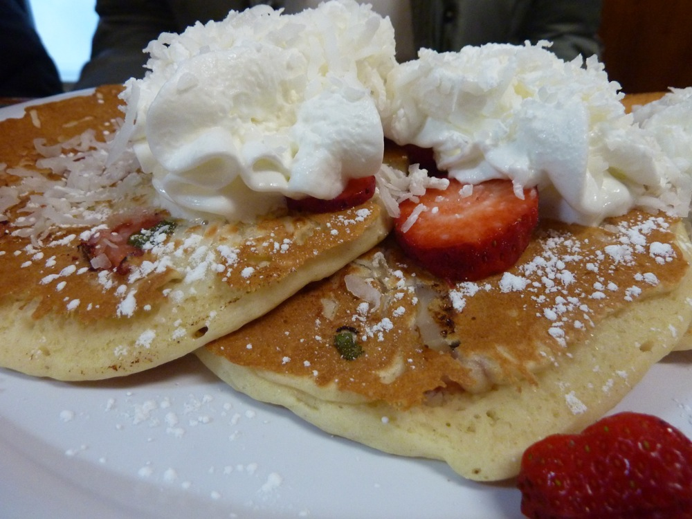 Chocolate chip pancakes with strawberries and whipped cream from the Dedham Diner in Dedham, Mass.