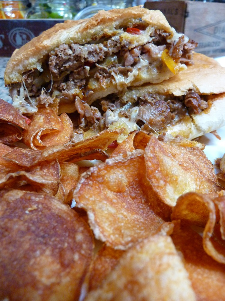 Super steak panini with homemade potato chips from the Depot Street Tavern in Milford, Mass.