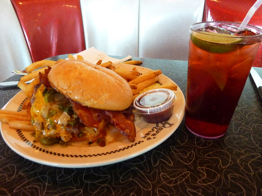 Burger and raspberry lime rickey from Dave's Diner in Middleboro MA.