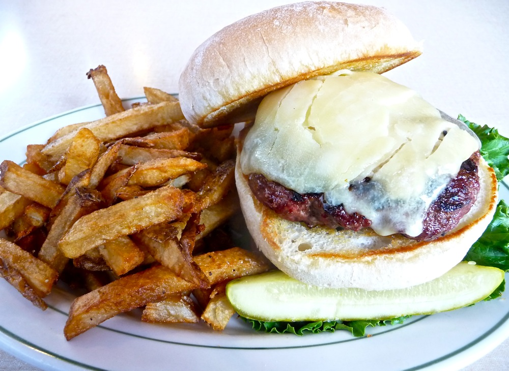 Grass-fed burger from Chelsea Royal Diner in Brattleboro VT.