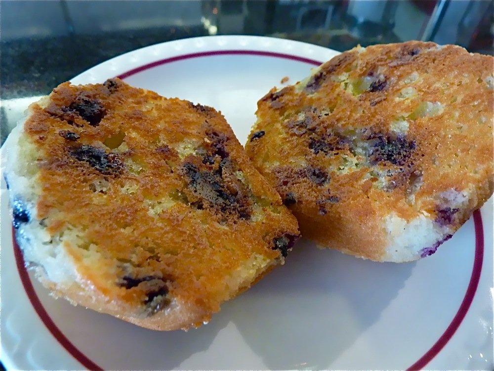 Grilled, buttered blueberry muffin from Joey's Diner in Amherst NH