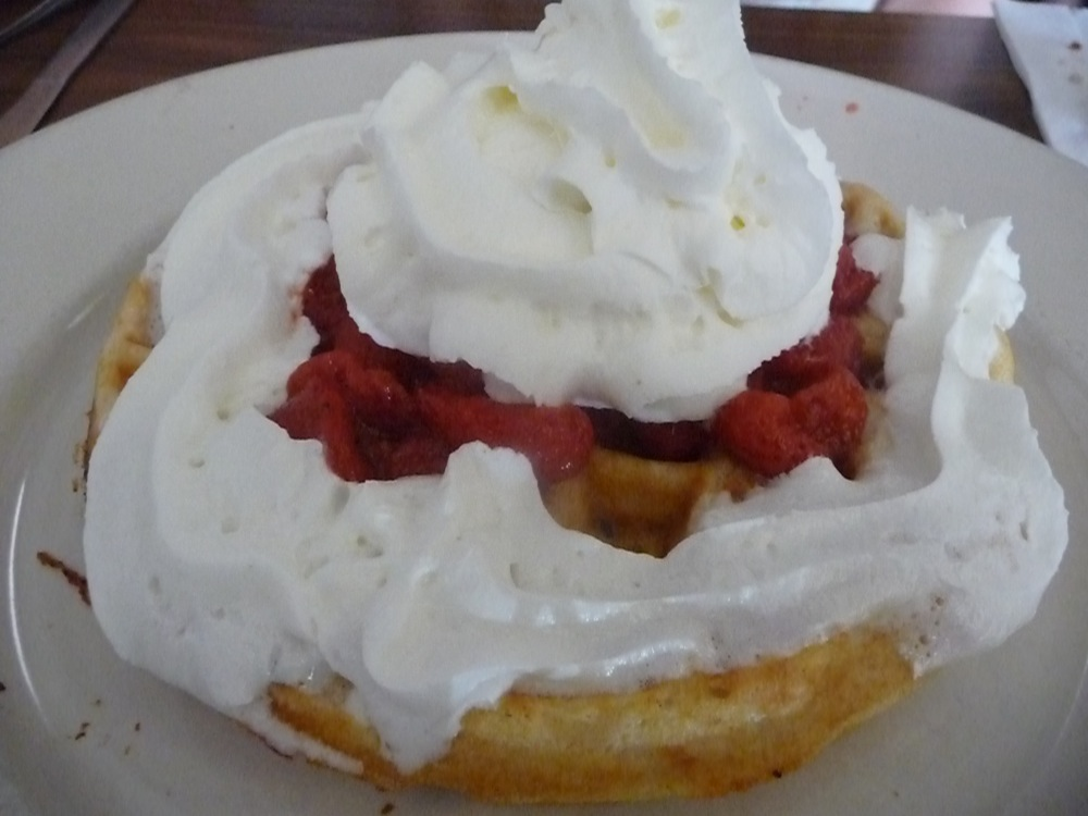 Waffles with strawberries and cream from Joe's Diner in Lee, Massachusetts.