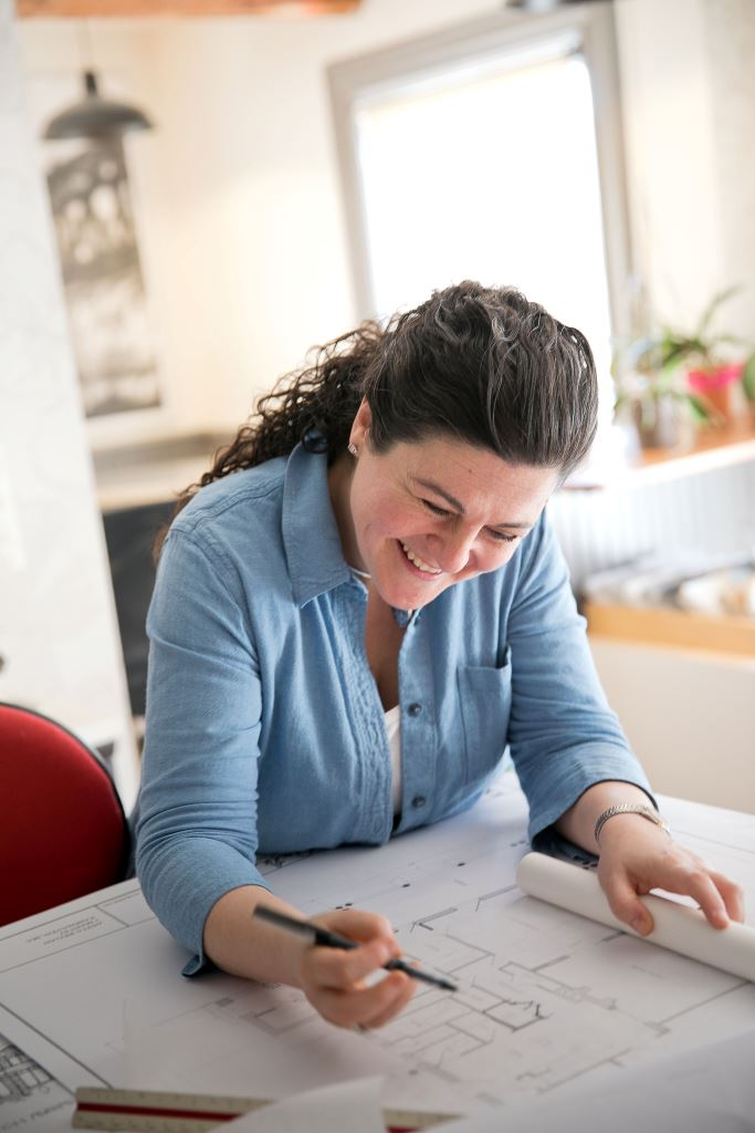 Anthi Frangiadis offers architectural services at her business, Anthi Associates in New Bedford, Mass.