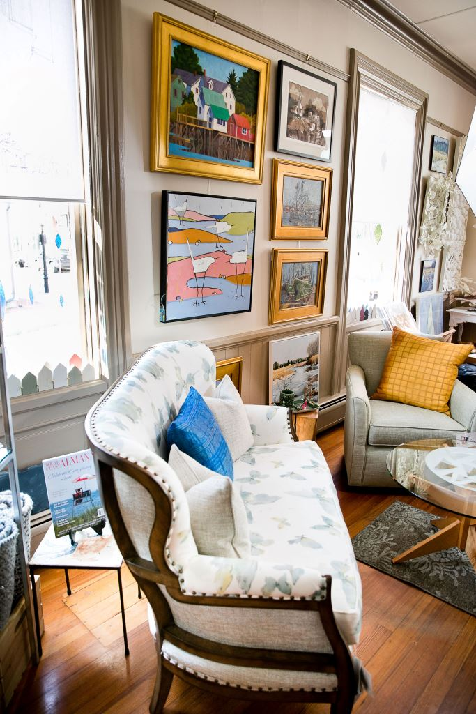 Art, furniture and books at Anthi Associates in New Bedford, Massachusetts.