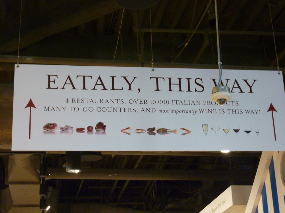 Eataly Boston: 4 restaurants, over 10,000 Italian products, many to-go counters and wine.