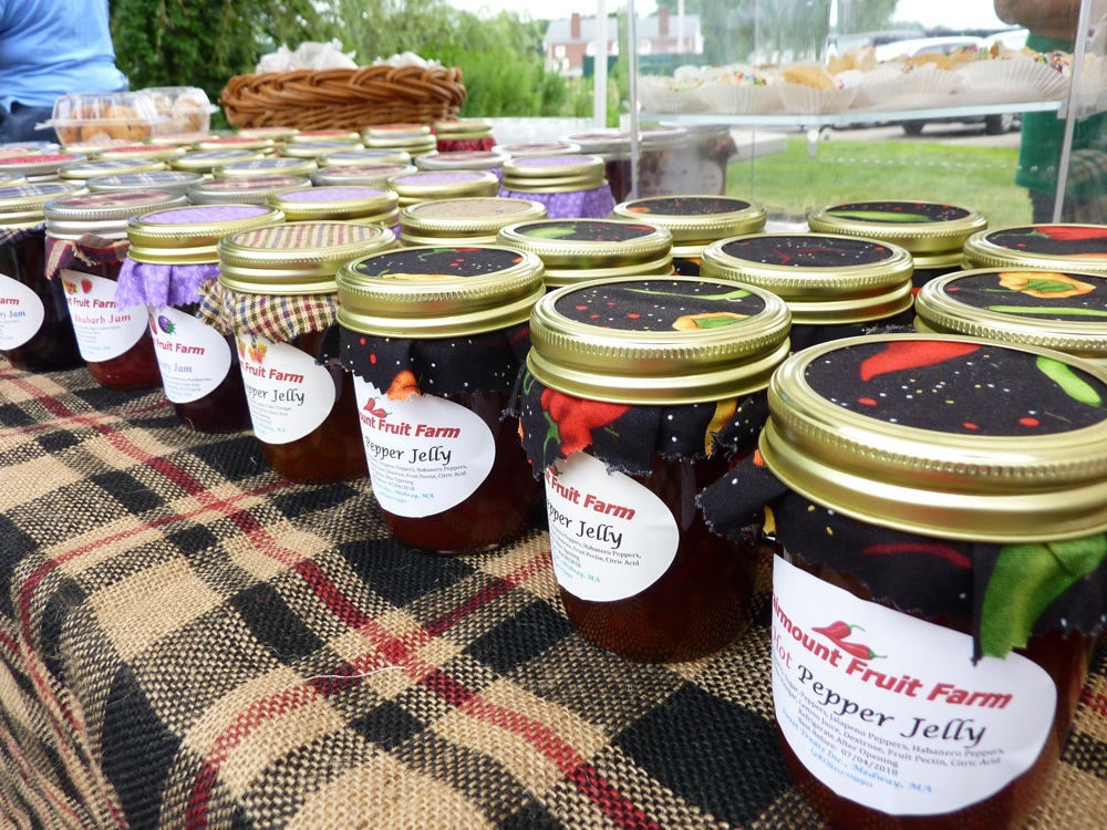 Jams from Fairmount Farm at the Walpole Farmers Market in Walpole, Massachusetts
