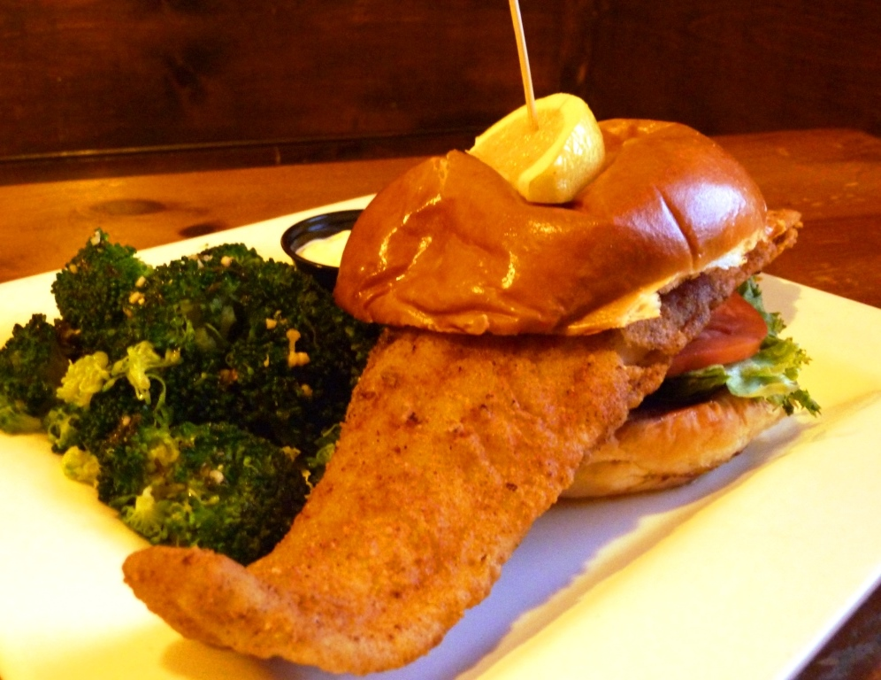 Fish sandwich from Father's Kitchen and Taphouse in Sandwich, Masssachusetts.