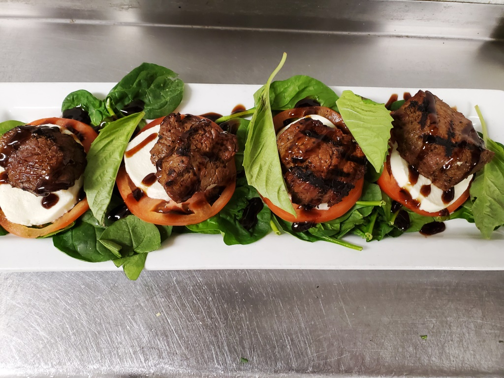 Caprese salad with steak tips from Father's Kitchen & Taphouse in Sandwich, Mass.