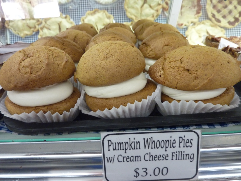 Pumpkin whoopie pies with cream cheese filling from Hager's Farm Market in Shelburne, Mass,