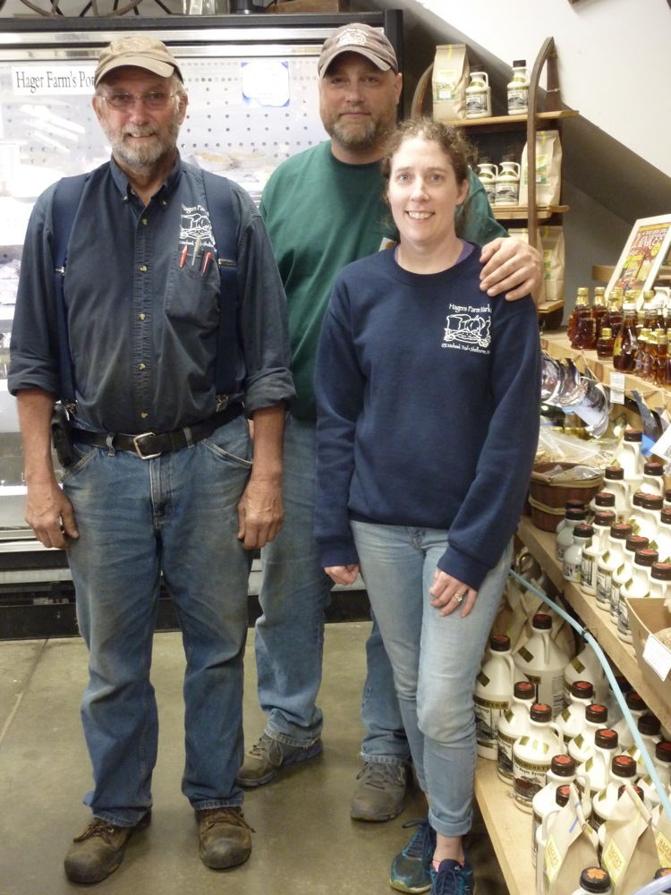 Chip Hager, daughter Kim Stevens, and son-in-law Aaron Stevens at Hager's Farm market in Shelburne, Mass.