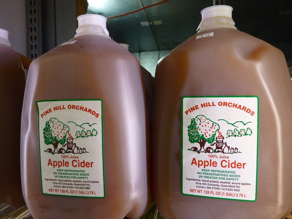 Cider from Pine Hill Orchards sold at Hager's Farm Market in Shelburne, Mass.