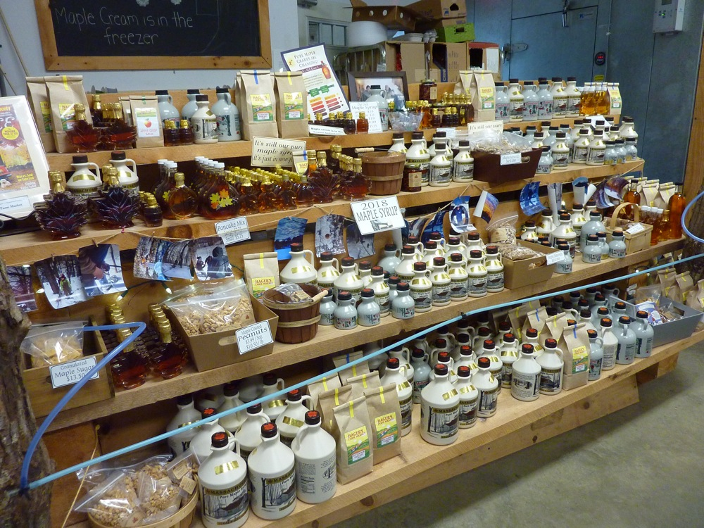 Maple products line the wall at Hager's Farm Market in Shelburne, Mass.
