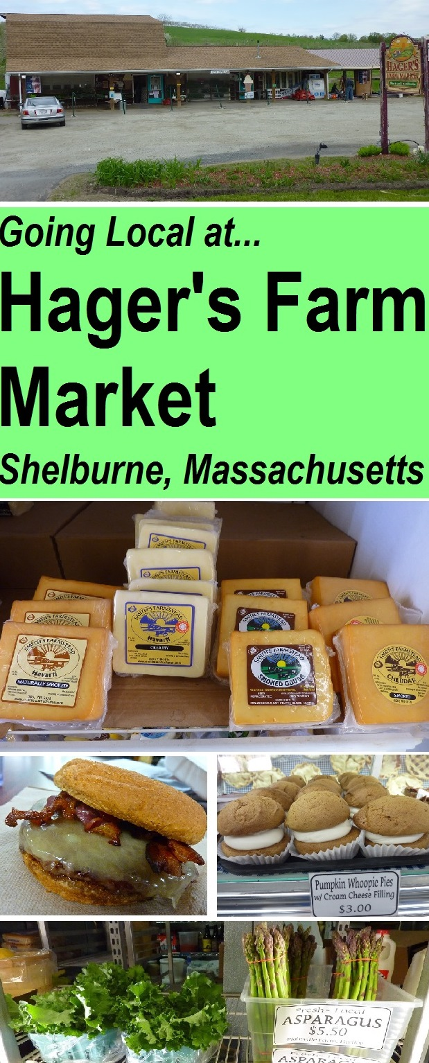 Family fun: shopping local, buying local at Hager's Farm Market on the Mohawk Trail in Shelburne, Massachusetts. This modest, family-run market and apple orchard sells fresh produce, breads, cheeses, farm raised beef including grass fed burgers, maple and honey products and maple ice cream,