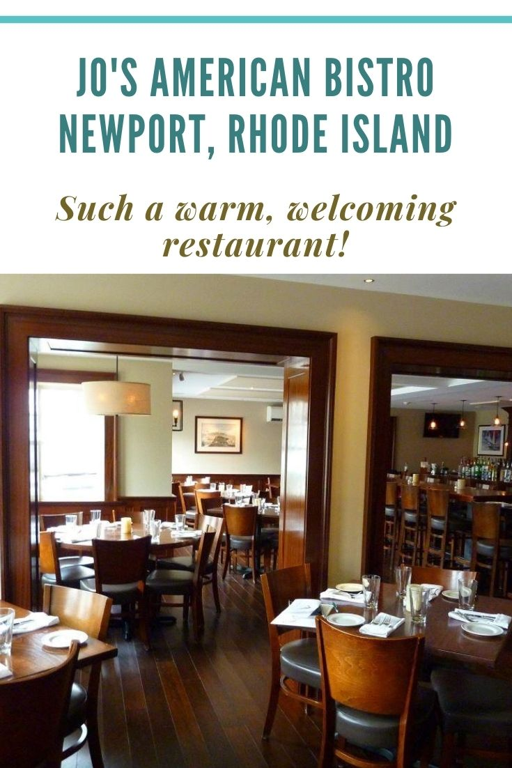 Next stop in Rhode Island: Jo's American Bistro in Newport -- a classy but casual restaurant specializing in made-from-scratch food. The burgers are amazing here!
