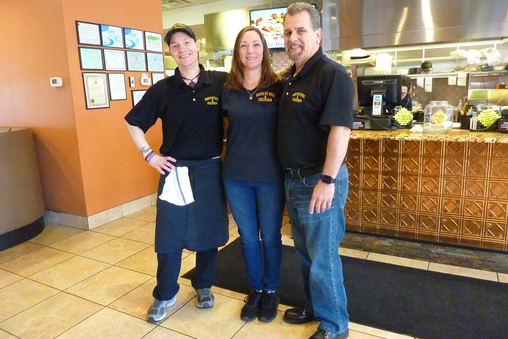 Billy Silva and Maria and Ken Cronin, owners of Ken's NY Deli & Brick Oven Pieria in Bedford, Mass.