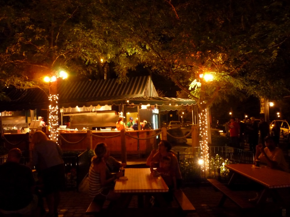 Kimball Farm seafood and grill at night in Westford, Massachusetts