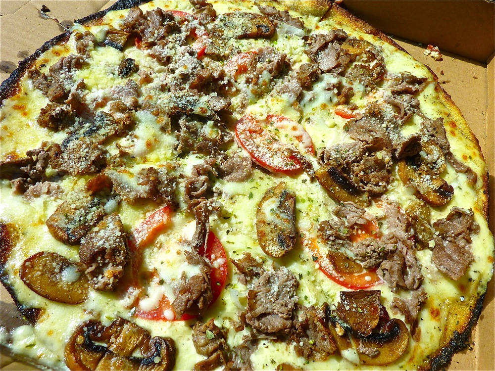 Steak and cheese pizza from Kindles Wood Fired Pizza in Marlborugh, Massachusetts