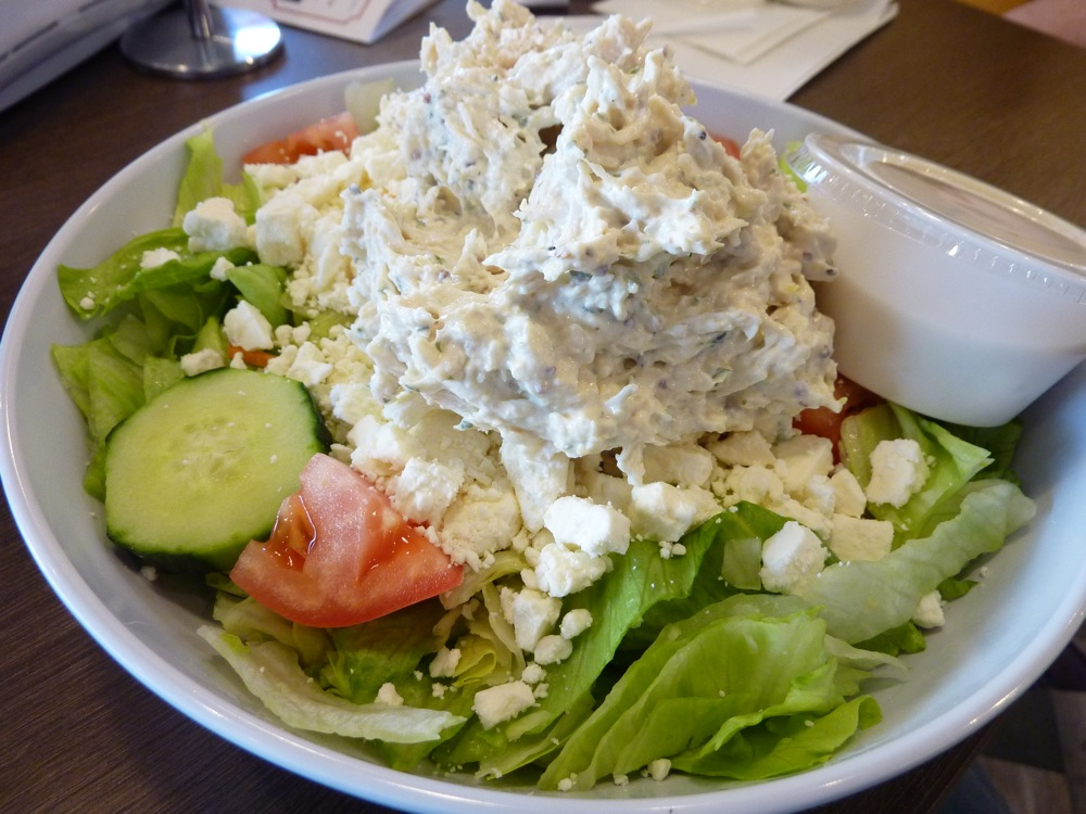 Greek salad with homemade chicken salad from Kravings in Millis, Massachusetts